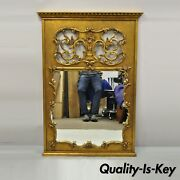 Vintage French Rococo Style Gold Gilt Wood Trumeau Large Wall Mirror