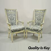 Vintage French Louis Xvi Provincial Blue Cream High Back Lounge Chairs - A Pair