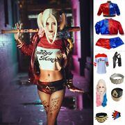 Suicide Cosplay Halloween Costumes Harley Quinn Embroidery Accessories Full Set