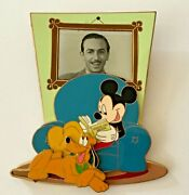 Mickey Mouse Reading With Pluto And Walt Disney Pin Wdw Cast Jumbo / 3d Le 750