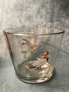 Vtg Ned Smith Duck Hunting Theme Canvasback And Greater Scaup Glass Ice Bucket