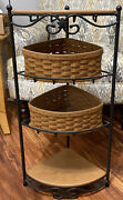 Longaberger Wrought Iron Corner Stand W/2 Baskets 2 Wood Shelves And 1 Protector