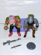 Vintage 1988 Tmnt Action Fig Rocksteady And Bebop. Playmate's Good Condition