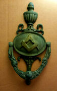 Salvaged Vintage Large Solid Brass Masonic Door Knocker With Square And Compasses