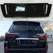 1pc For Lexus Lx570 2016-2021 Rear License Plate Molding With Led Backup Black