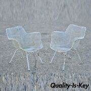 Vintage Russell Woodard Sculptura Metal Wrought Iron Dining Arm Chairs - A Pair