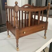 Columbia Canterbury Record Magazine Rack Stand Caddy Mahogany Wood/brass Casters