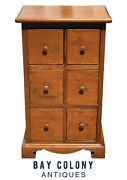 19th C Antique Queen Anne Pennsylvania 6 Drawer Pine Spice Chest / Cabinet