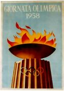 Original Vintage Poster Olympic Games Day Rome Italy 1958