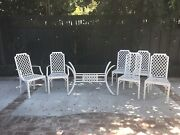 Vintage Chinese Chippendale Mid Century Outdoor Metal Patio Dining Set