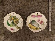 Rare Pair Of Mottahedeh Design Exotic Plant Leaf Dishes