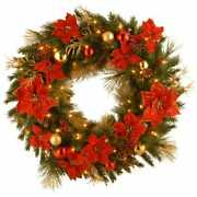 Home Spun Artificial Wreath Clear Lights W Ornaments Christmas Holiday Decor