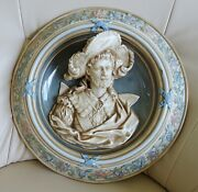 Antique Huge Eichwald Vienna Majolica Wall Plate With Portraits Of Noble Man