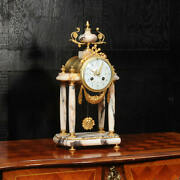 Antique French Ormolu And Specimen Marble Portico Clock By Fritz Marti