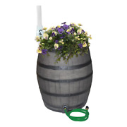 50 Gal. Gray Flat Back Whiskey Rain Barrel With Integrated Planter And Diverter
