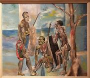 Pascal Kenfack 1950 Painted On Panel Depicting Warriors With Weapons.