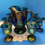 Indiana Glass Blue Carnival Harvest Grapevine Iridescent Pitcher And 6 Goblets