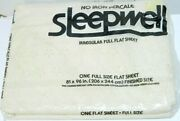 Sleepwell Full Flat Bed Sheets White Lace Cutouts Scalloped Edge Vintage Nos