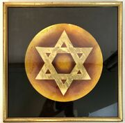 """Star Of David Plate Hand Painted By Count Agazzi Inside Frame 15""""x15 Gold"""