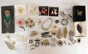 Lot Of Vtg Jewelry Brooches Earrings Pins Bracelet Christmas Tree Flowers Poodle