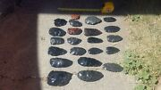 23 Obsidian Bifaces In A Medium Flate Rate Box For Flint Knapping