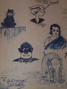 Dick Dickie Moore School Book With His Art / Doodle Work Inside Cover