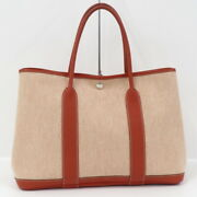 Hermes Garden Party Pm Tote Bag Towal Ash Canvas Red Beige Natural □ Q Immed