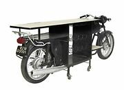 Deco 79 Natural Wood And Black Iron Vintage Motorcycle Bar Cart With Wheels And Wine
