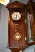 Vintage Old Manual Classic Moscow Chz 1936 Wall Clock Ussr Wood Wooden Handmade