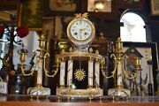 Antique Vintage Candlestick And Clock Brass Marble Royal Style Sun Face