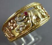 Large .02ct Aaa Ruby 14k Tri Color Gold Floral Elephant Owl Horseshoe Ring 27488