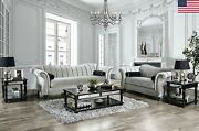 Seashell Tufting Modern Pewter Color Sofa Set Sofa Loveseat Rolled Pillows