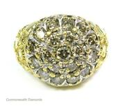 Mens 2ct Si1-si2 Diamond Kentucky Cluster Nugget Ring 10k Yellow Gold Pinky 9.8g