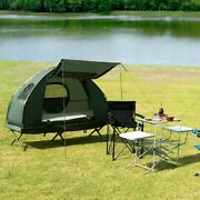 2-person Foldable Camping Tent Cot Air Mattress 2 Sleeping Bag Air Pump Included