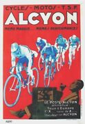 Original Vintage Poster Alcyon Bicycles And Radio Racers C.1930