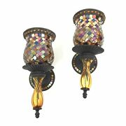 Partylite Global Fusion Wall Sconce Mosaic Peglight Pillar Taper Full Set Of 2