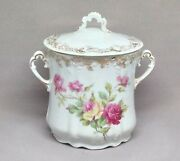 Antique Weimar Germany Condensed Milk Jar Container Pink Roses Granny Chic