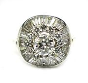 Estate Womenand039s Engagement Cocktail Cluster 2.0ct Diamond Ring 14k Yellow Gold