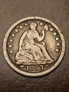1853 Philadelphia Mint Silver Seated Liberty Half Dime With Arrows