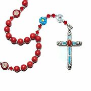 Anglican Rosary / Prayer Beads - Red Howlite, Multi Color Flower Beads