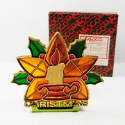 Stained Glass Christmas Tea Light Candle Holder Vintage Enesco