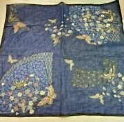 Scarf From Japan Butterfly Blue Pink White Gold Metallic Table Wall Display 20