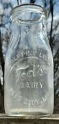 Ted's Dairy Reed City Mi Michigan 1/2 Pt Half Pint Milk Bottle Only One On Ebay