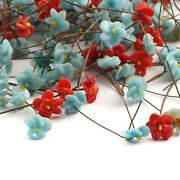Lot 220 Vintage Czech Lampwork Glass Red And Blue Flower Wired Headpin Beads