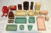 Antique Wooden Art Deco Dollhouse Doll Furniture Painted 20 Pieces 1930and039s-40and039s