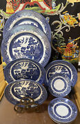 Lot Of 11 Pcs Vintage Churchill Blue Willow Large Bowls 8 Dinner Plates Saucers