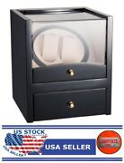 Watch Winder Display Box Automatic Rotation Storage 2 Grids Wooden Cases -gt