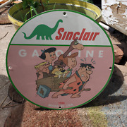Vintage 1966 Sinclair Gasoline And039and039the Flintstonesand039and039 Porcelain Gas And Oil Sign