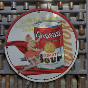 Vintage 1930 Campbell's Condensed Tomato Soup Porcelain Gas And Oil Metal Sign