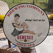 Vintage 1878 Genesee Beer And Ale Brewing Company Porcelain Gas And Oil Pump Sign